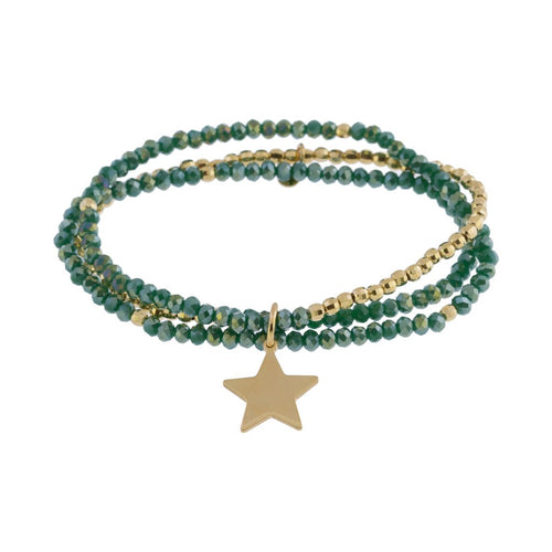 Green Crystal Triple Bead Bracelet with Star Charm