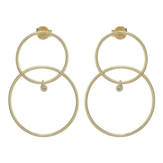 Skinny Double Circle Stud Earrings with Tiny Bezel Drop