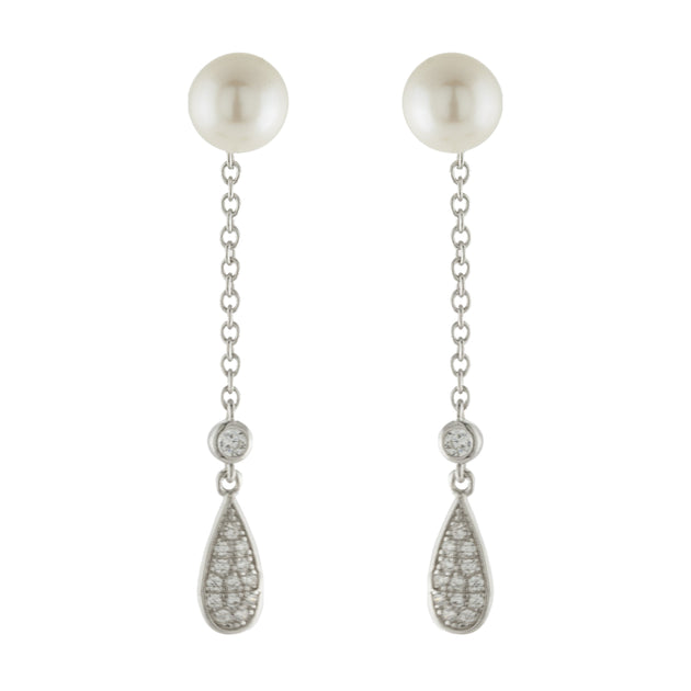 Faux Pearl Stud Earrings with Pave Pear Drop Jacket