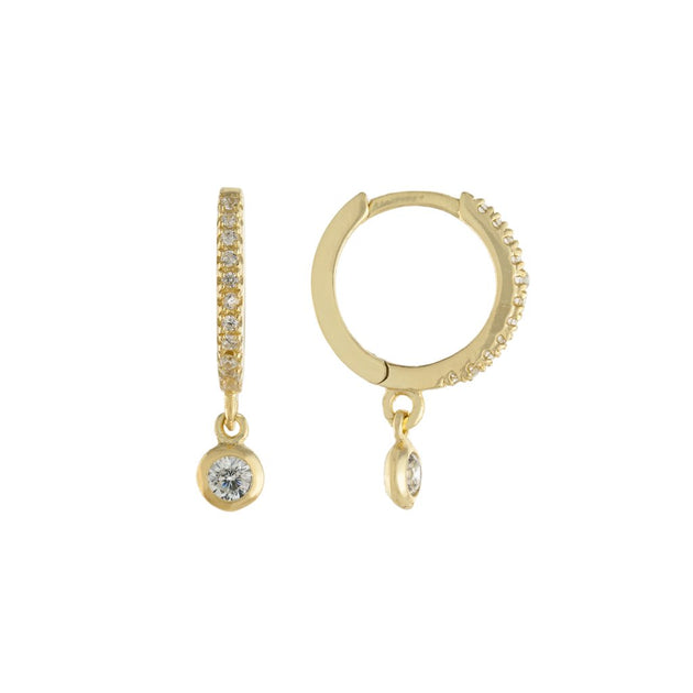 Thin Pavé Huggie Earrings with Single Bezel Dangle Charm