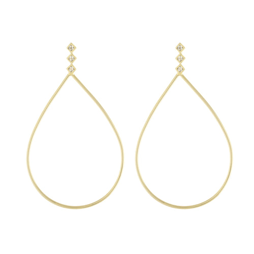Geometric Stud Open Pear Drop