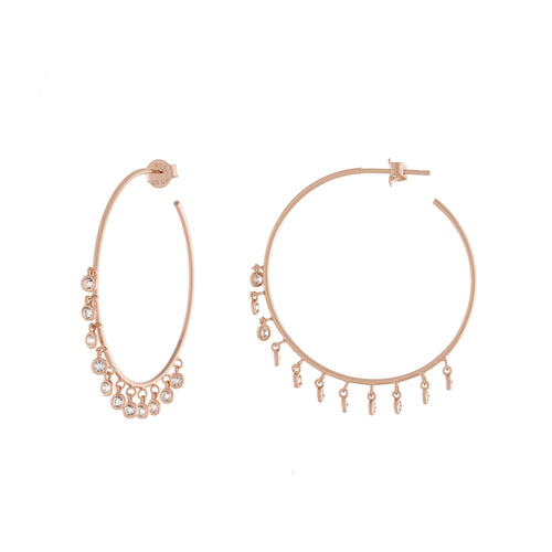 Bezel Dangle 35mm Shaker Hoop Earrings