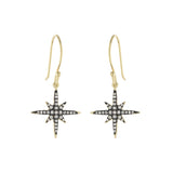 Blackened Starburst Dangle Earrings