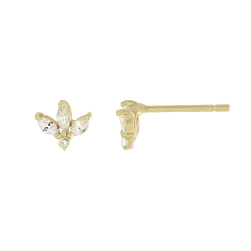 Marquis Lotus Flower Fan Stud Earrings