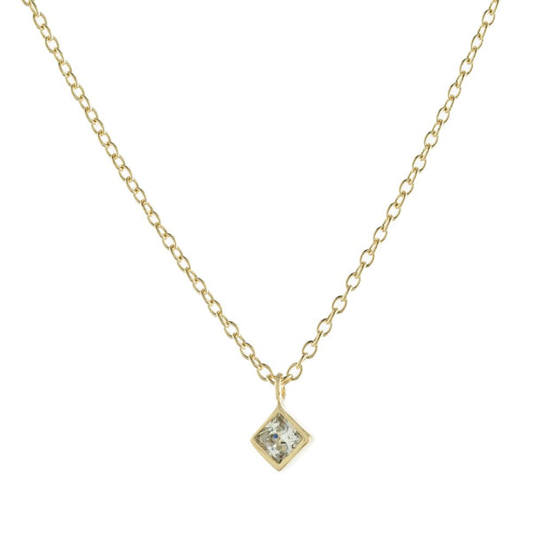 Square Bezel Solitaire Necklace
