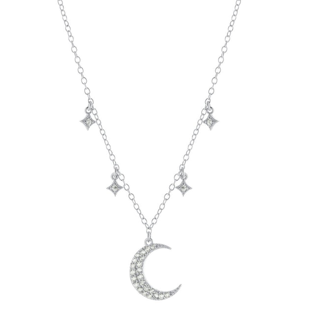 Crescent Moon Pendant with Dripping Stars