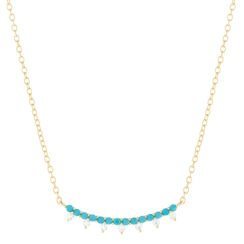 Curved Bar Necklace with Turquoise Colored Beads and CZ Accent