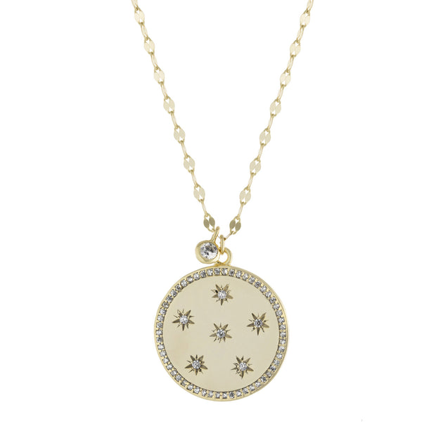 Star Studded Medallion Long Necklace with Mirror Link Chain
