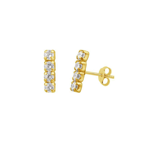Simple Pave Bar Stud Earrings