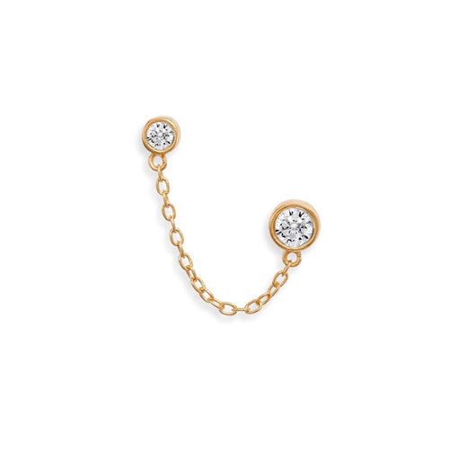 Double CZ Stud Earring with Chain