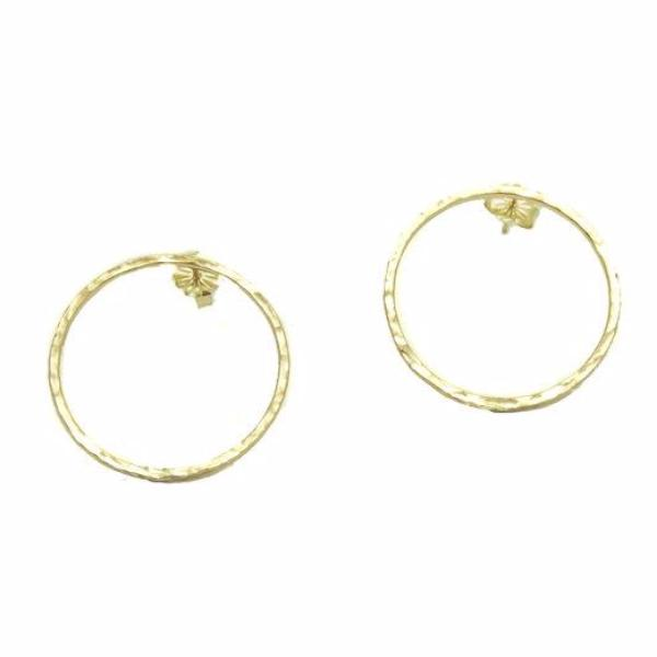 "14k Solid Gold 1"" Open Circle Stud Earrings"
