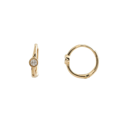14k Gold and Single Diamond Bezel Set Tiny Hoop