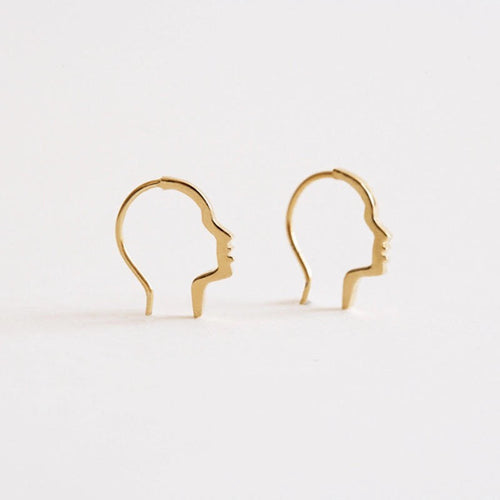 Subtle and Artistic Face Silhouette Threader Earrings