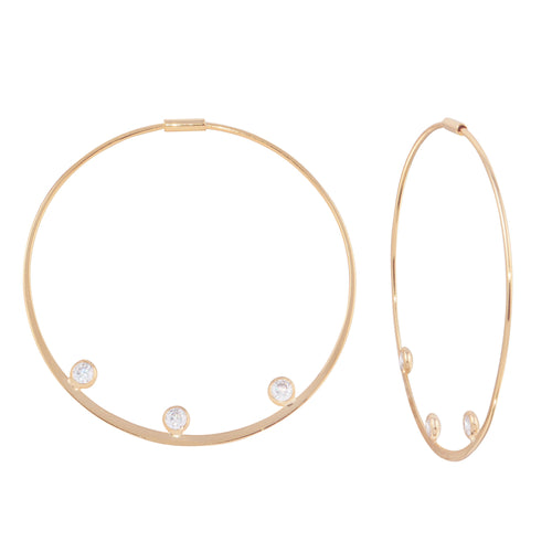 Triple Bezel Accent Hoop Earrings