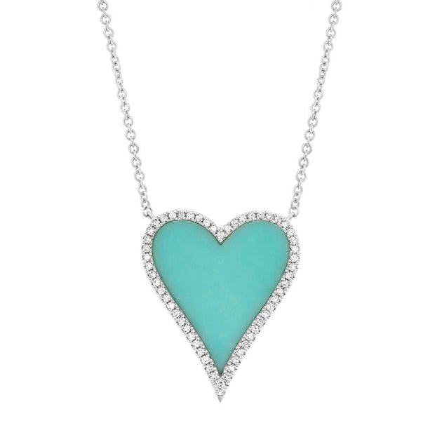14k Gold and Diamond Pavè Large Turquoise Inlay Melting Heart Necklace