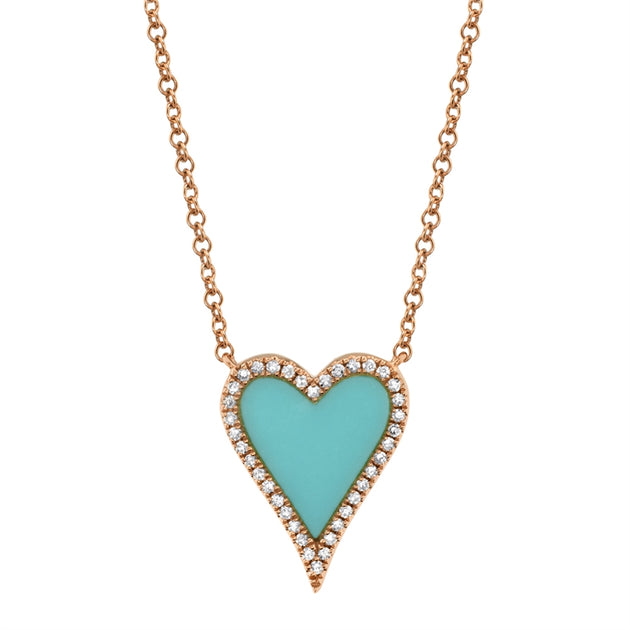 14k Gold and Diamond Pavè Medium Turquoise Inlay Melting Heart Necklace