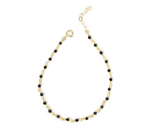 Yellow Tone Dainty Bead Chain Bracelet