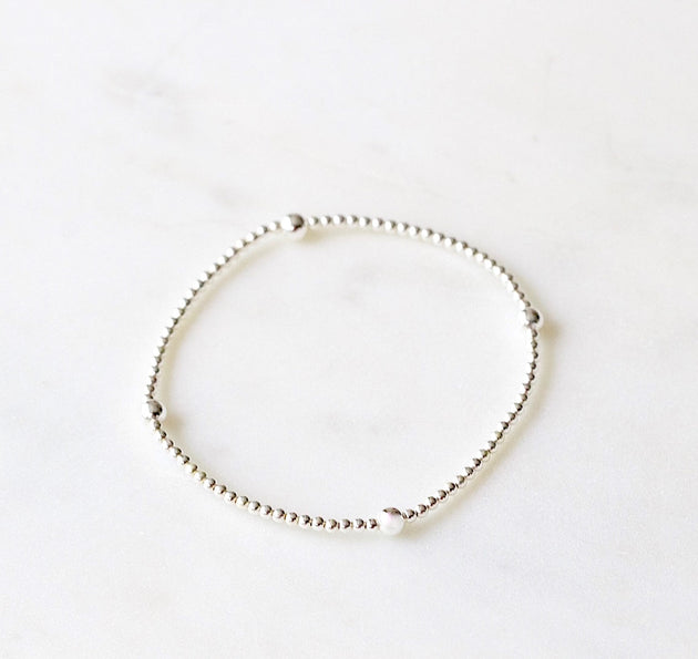 Silver Beaded Bubble Bracelet with 4 Point