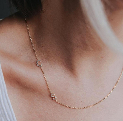 Asymmetrical Diamond Initial Letter Necklace