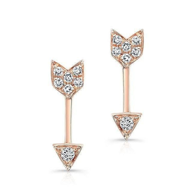 14k Gold and Diamond Mini Arrow Stud Earrings