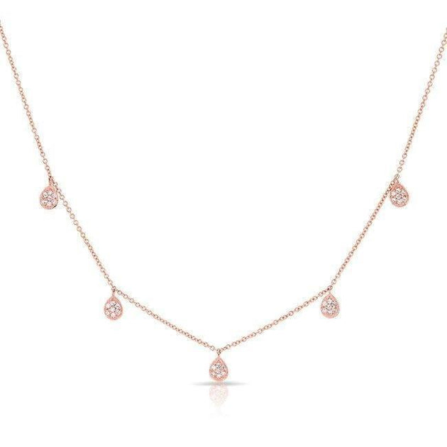 14k Gold and Diamond 5 Pear Drop Station Necklace