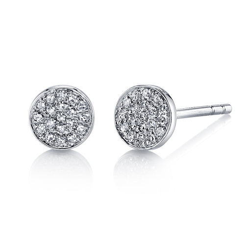 14k Gold Mini Pavè Diamond Disc Earrings