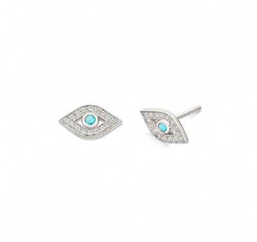 Evil Eye Stud Earrings with Turquoise Pupils