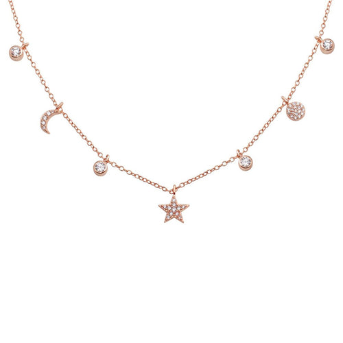 Moon, Star and Pave Disc Station Necklace