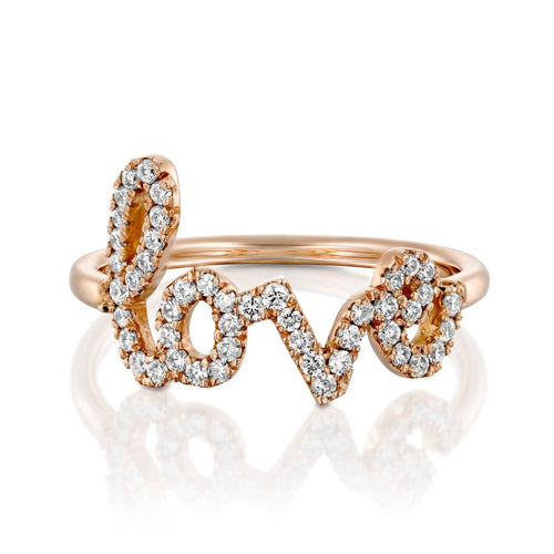 14k Gold and Diamond Pavè LOVE Letter Ring