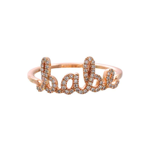 "14k Gold and Diamond Pavè ""babe"" Ring"