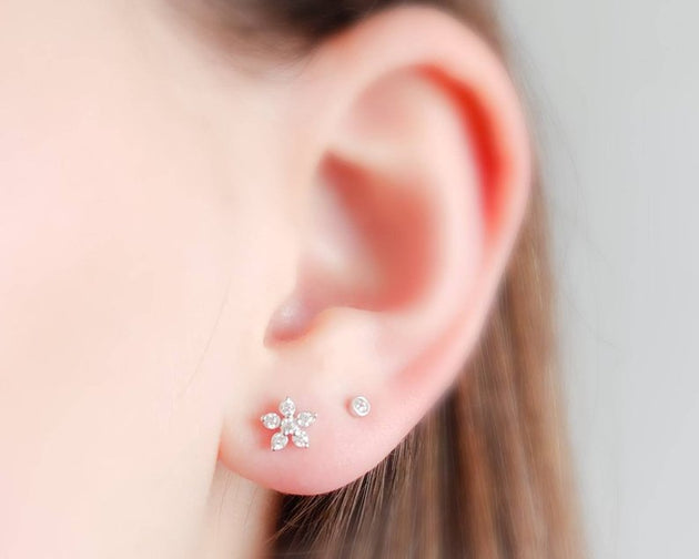 Tiny Diamond Bezel Stud Earrings