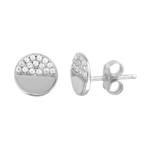8mm Disc Half Pavé Stud Earrings