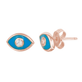 Evil Eye with Turquoise Enamel Stud Earrings
