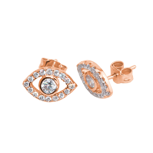 Bright Eyes / Evil Eye Full Pave Set Stud Earrings