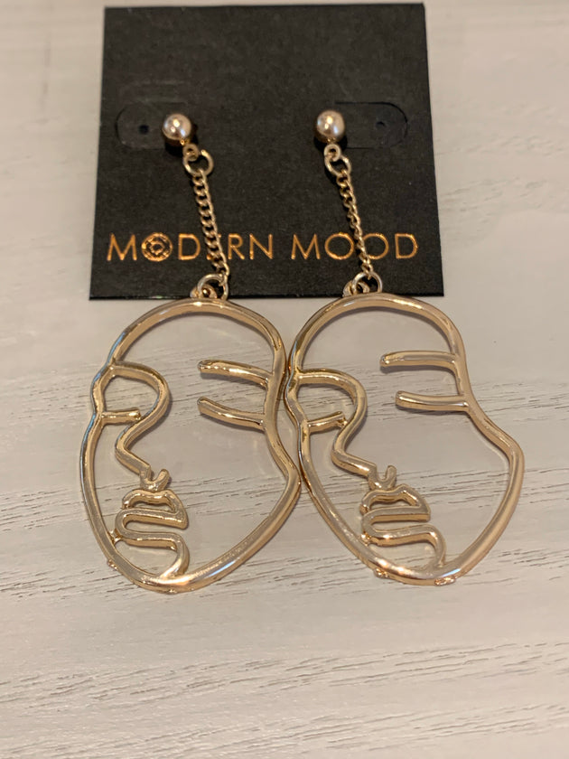Abstract Hammered Face on Chain Earrings