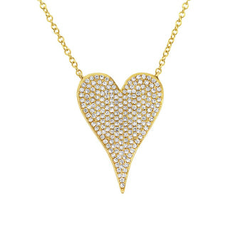 14k Gold and Diamond Pavè Large Melting Heart Necklace