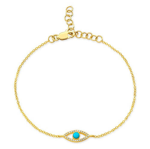14k Gold Turquoise, Diamond and Gold Evil Eye Bracelet