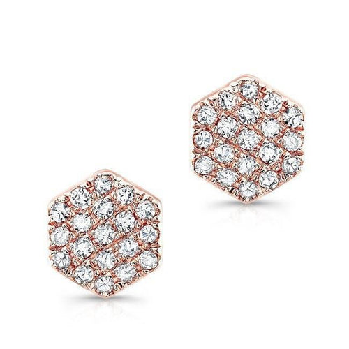 14k Gold Mini Pavè Diamond Hexagon Earrings