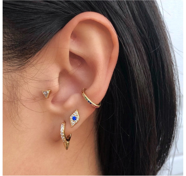 Minimal Evil Eye Stud Earrings