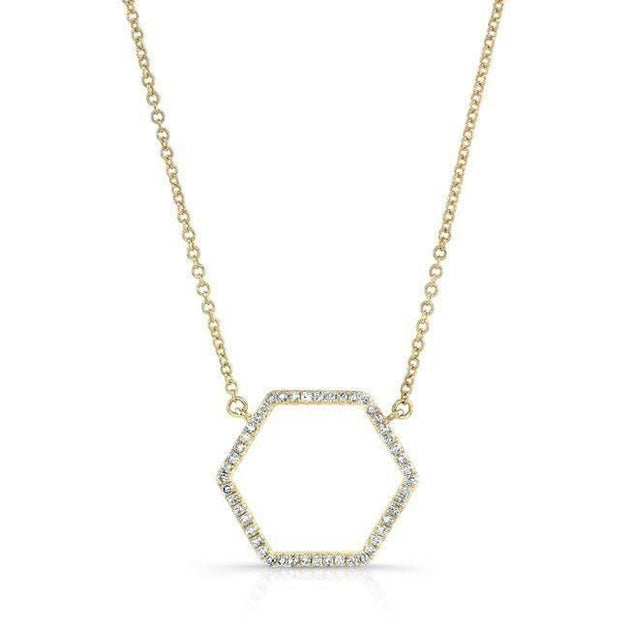 14k Gold and Diamond Hexagon Necklace