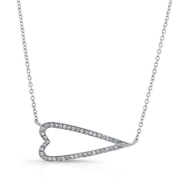 14k Gold and Diamond Sideways Open Heart Necklace