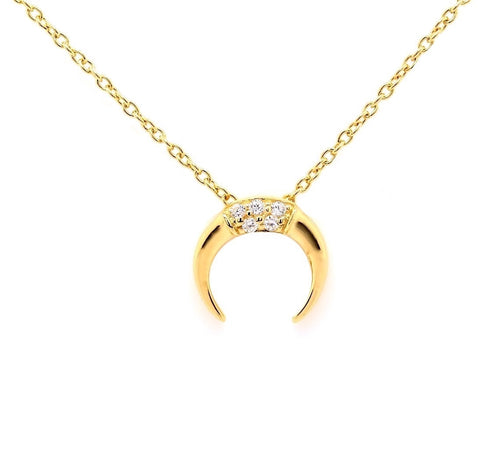 Part Pave Double Horn Crescent Moon Necklace