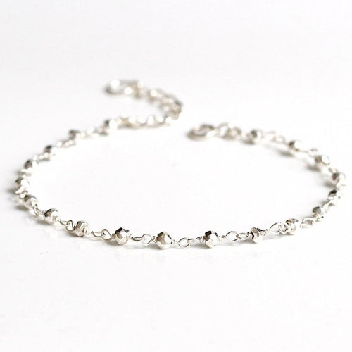 Sparkly Faceted Plated Pyrite Bead Bracelet