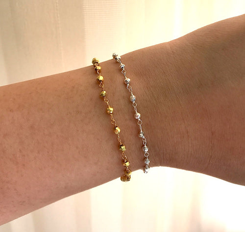 Sparkly Silver or Yellow Gold Fill Pyrite Bead Bracelet