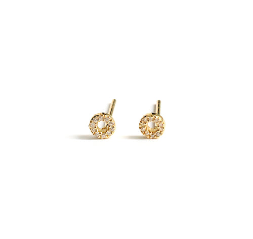 Tiny 4mm Open Circle Pave Stud Earrings