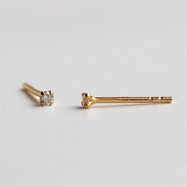 Tiny 4 Prong Solitaire Stud Earrings