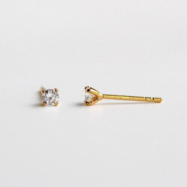 Tiny Solitaire Stud Earrings