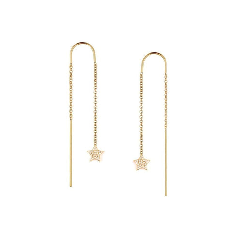 Pave Star Threader Earrings