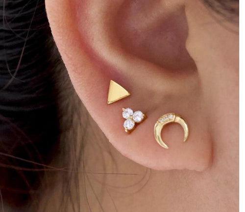 Double Horn Stud Earrings