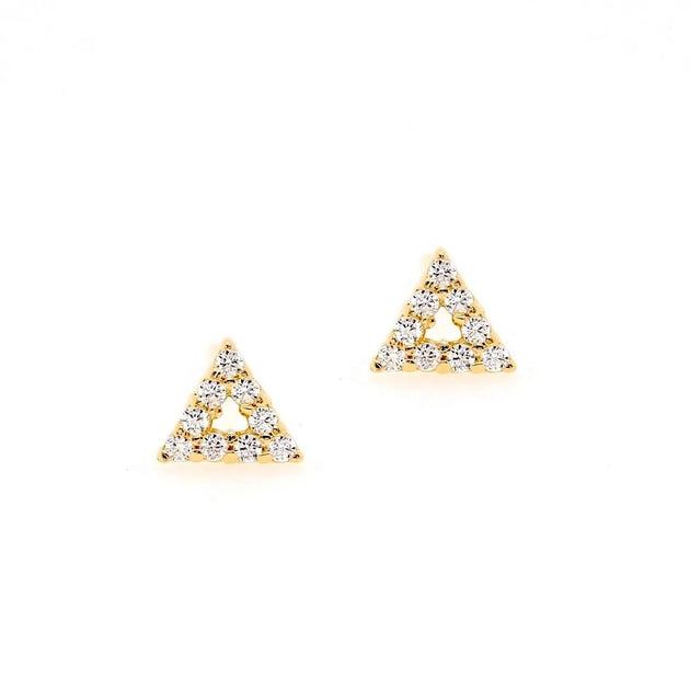 4mm Open Triangle Pave Stud Earrings